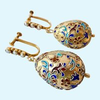 China Export Large Gilt Sterling Cloisonne Egg  Dangle Earrings Pearls Screw Back