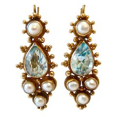 Gilt Sterling Chinese Export Blue Topaz Pearl Lever Back Earrings