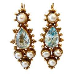 Gilt Sterling Chinese Export Blue Topaz Pearl Lever Back Earrings