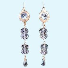 14K Gold Aquamarine Dangle Earrings Talisman Unlimited