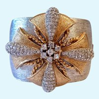 Ciner Two Tone Wide Hinged Bangle Bracelet Maltese Cross Paper Tag