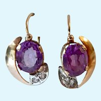 14K Gold Victorian Dormeuse Earrings Sapphire & Quartz Antique
