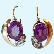 14K Gold Victorian Dormeuse Earrings Sapphire & Quartz Antique