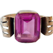 Art Deco 10K Gold Pink Sapphire Corundum Ring