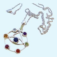 "Sterling Silver 925 & Multi-Gem ""Eye"" Pendant Necklace"