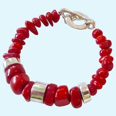Robert Lee Morris RLM Sterling Silver 925 & Coral Toggle Bracelet
