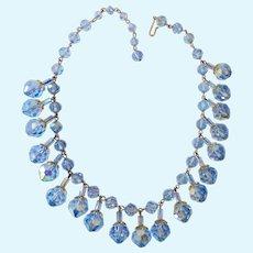 Blue Glass AB Bead Dangle Fringe Necklace