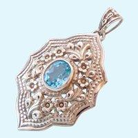 Large Sterling Silver 925 & Blue Topaz Pendant