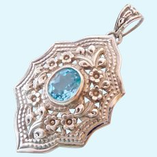 Large Sterling Silver 925 & Blue Topaz Pendant