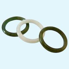 Trio of Green Gemstone Band Rings