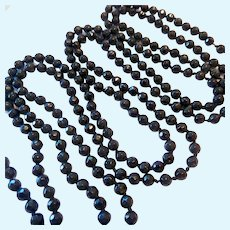 Extra Long 70 Inch Faceted Black Glass Bead Necklace Hand Knotted