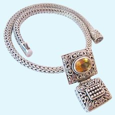 Impressive Sterling Silver 925 Bali Style Wheat Chain & Hinged Citrine Pendant Enhancer Over 100 Grams
