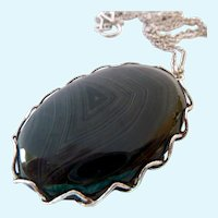 Large Sterling Silver 925 Banded Agate Pendant Necklace 32 Inch Chain