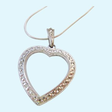 Sterling Silver 925 Open Heart Pendant Necklace with Marcasites Signed