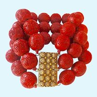 Extraordinary Chinese Cinnabar 15MM Bead Triple Strand Bracelet Gilt Sterling Cannetille Clasp