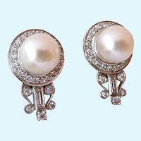 Stunning 14K White Gold Pearl Diamonds Earrings Screw Backs