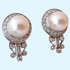 Stunning 14K White Gold Pearl Diamonds Earrings Screw Backs