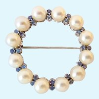 Classic 14K White Gold Circle Brooch Akoya Pearls & Blue Gemstones 10.6 Grams