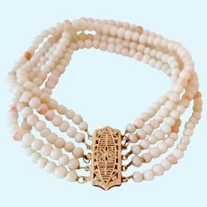 Vintage  Five Strand Angel Skin Coral Bracelet 14K Gold Clasp