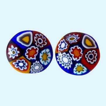 Millifiori Glass Button Post Earrings