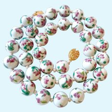 Hand Painted Large 14MM Porcelain Bead Necklace Hand Knotted Oriental