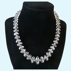 Vintage Rock Crystal Necklace Sterling Clasp Graduated Faceted 16.5 Inches