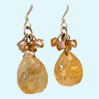 Sterling Silver 925 Citrine Dangle Earrings