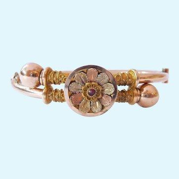 10K Gold Victorian Etruscan Revival Cross Over Hinged Bracelet Rose & Yellow Gold 12.1 Grams