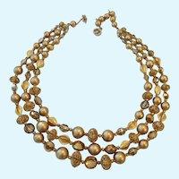 Signed Regency 3 Strand Necklace Neutral Golden & Taupe Hues