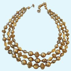 Signed Regency 3 Strand Necklace Neutral Golden & Taupe Hues