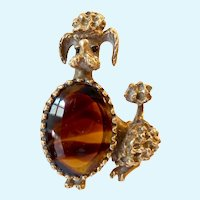 Adorable Poodle Dog Brooch with Tortoise Shell Glass Body