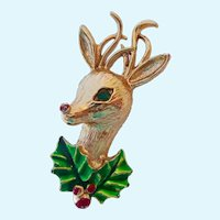 Signed Gerrys Reindeer Rudolph Holiday Brooch