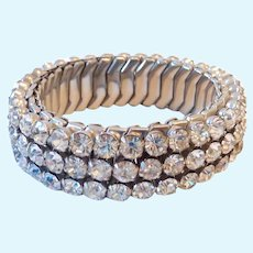 Clear Rhinestone Paved Expansion Bracelet Small Size Signed