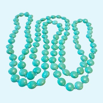 Long 48 Inches Endless Hand Knotted Turquoise Colored Disk Necklace
