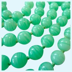 Long 51 Inch Green Swirl Glass Bead Necklace Hand Knotted