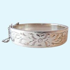 Vintage Sterling Silver 925 Hinged Bangle Bracelet Safety Chain