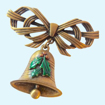 Signed JJ Holiday Bell and Bow Brooch
