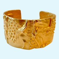 Kenneth Jay Lane (KJL) Wide Gold Tone Hinged Cuff Bracelet