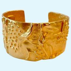 Kenneth Jay Lane (KJL) Wide Gold Tone Hinged Cuff Bracelet