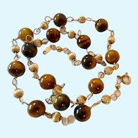 14K Gold Filled Tiger Eye Bead Station Necklace