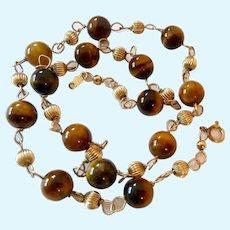 14K Gold Filled Tiger Eye Bead Station Necklace