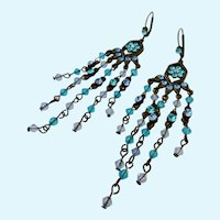 Long Dangly Lever Back Earrings Shades of Blue
