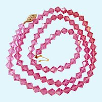 Pink  Faceted Bi-Cone Bead Necklace 14K Gold Filled Clasp