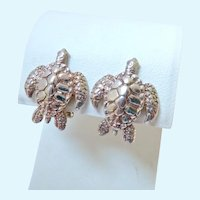 950 Silver Sea Turtle Earrings Omega Clips Signed Kabana