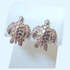 950 Silver Sea Turtle Earrings Omega Clips Signed Kabana