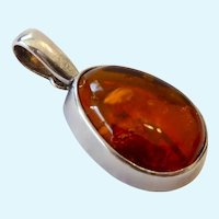 Sterling Silver 925 & Amber Pendant