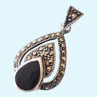 Sterling Silver 925 Marcasite & Black Inlay Pendant