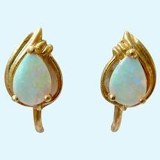 18K Gold Opal Screw Back Earrings