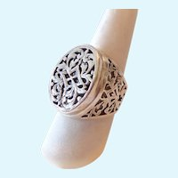Sterling Silver 925 Ornate Filigree Ring Large Presentation Signed
