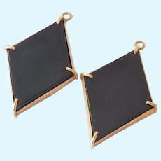 14K Rose Gold French Jet Day Night Earring Pendants